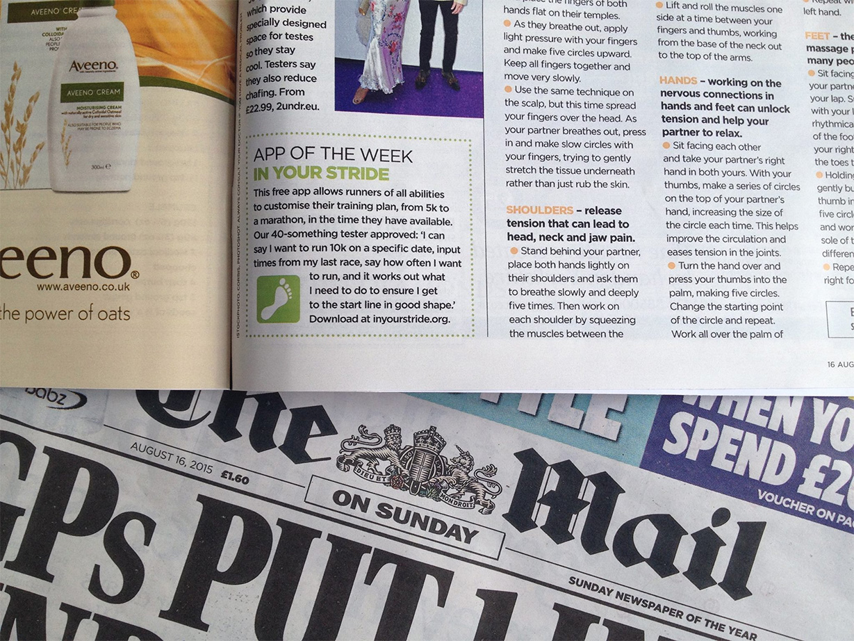InYourStride 'App of the week' in YOU Magazine